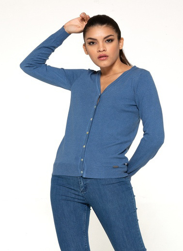 Optique Knitwear Düz V Yaka Uzun Kol Triko Ceket Mavi